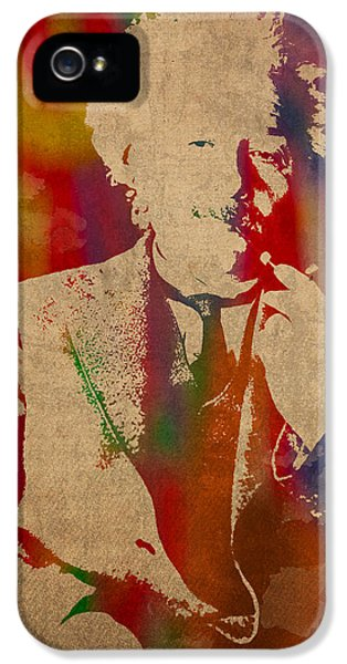 Albert Einstein Watercolor Portrait On Worn Parchment IPhone 5 Case by Design Turnpike