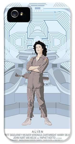 Alien 1979 Movie Poster - Feat. Ripley IPhone 5 Case by Peter Cassidy