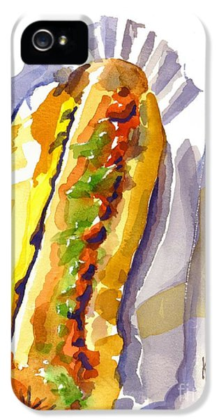 All Beef Ballpark Hot Dog With The Works To Go In Broad Daylight IPhone 5 Case by Kip DeVore