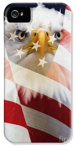 American Flag And Bald Eagle Montage IPhone 5 Case by Tim Gainey