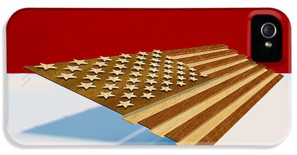Folk Art iPhone 5 Case - American Flag Wood by Yo Pedro