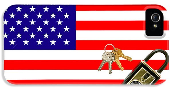 American Real Estate With Keys Lock Box And American Flag IPhone 5 Case by Olivier Le Queinec