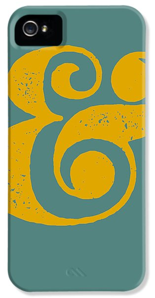 Ampersand Poster Blue And Yellow IPhone 5 Case by Naxart Studio