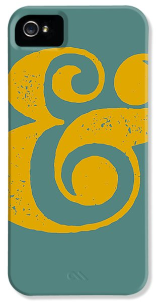 Ampersand Poster Blue And Yellow IPhone 5 / 5s Case by Naxart Studio