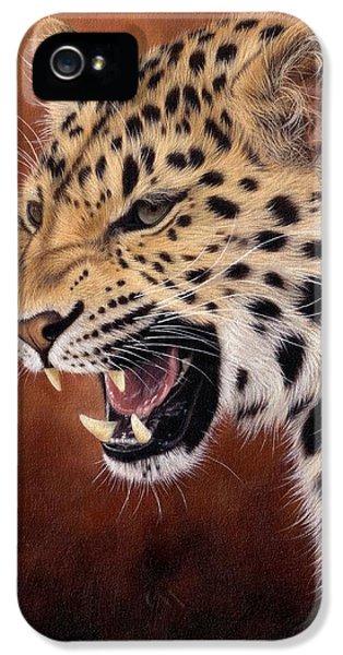 Amur Leopard Painting IPhone 5 Case by Rachel Stribbling