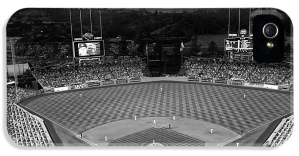 Los Angeles Dodgers iPhone 5 Case - An Evening Game At Dodger Stadium by Mountain Dreams