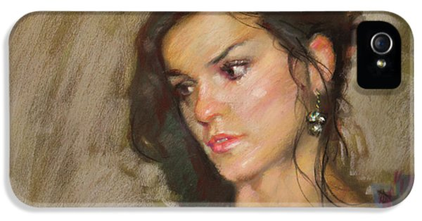 Ana With An Earring IPhone 5 Case by Ylli Haruni