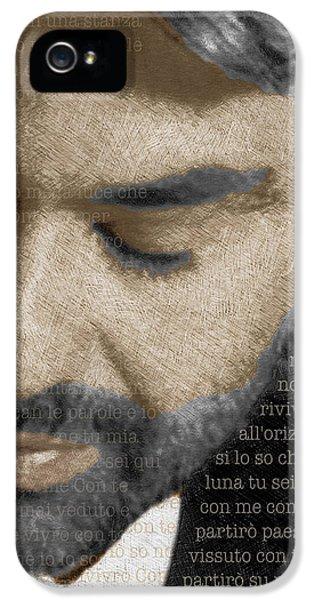 Andrea Bocelli And Lyrics Vertical IPhone 5 Case by Tony Rubino