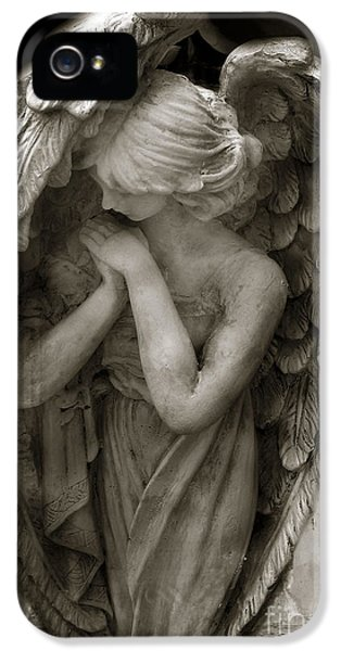 Angel Photography - Dreamy Spiritual Angel Art - Guardian Angel Art In Prayer  IPhone 5 Case by Kathy Fornal