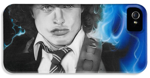 Angus Young - ' Angus ' IPhone 5 Case by Christian Chapman Art