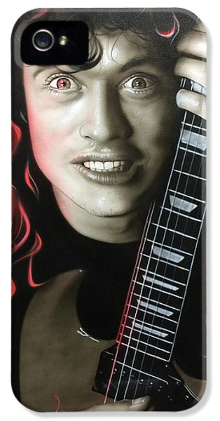Angus Young - ' Angus On Fire ' IPhone 5 Case by Christian Chapman Art