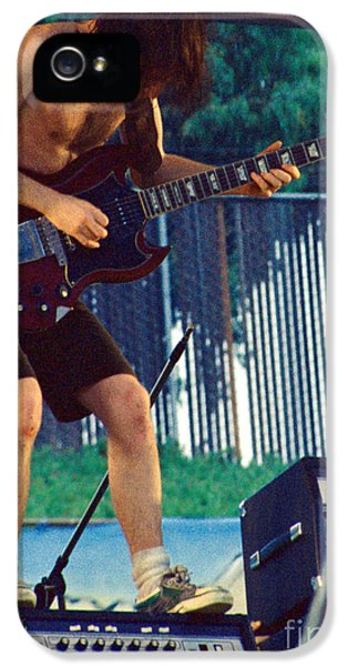 Angus Young Of A C D C At Day On The Green Monsters Of Rock IPhone 5 Case by Daniel Larsen