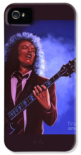 Angus Young Of Ac / Dc IPhone 5 Case by Paul Meijering