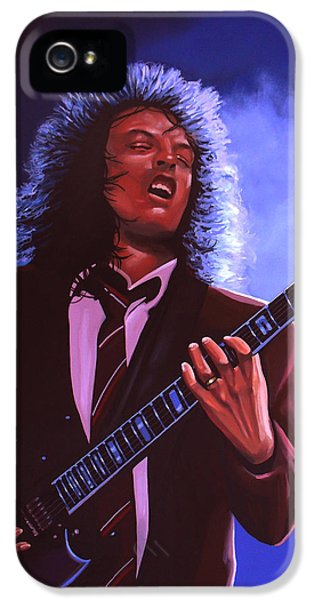 Rock And Roll iPhone 5 Case - Angus Young Of Ac / Dc by Paul Meijering