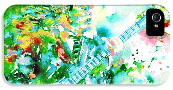 Angus Young Playing The Guitar - Watercolor Portrait IPhone 5 Case by Fabrizio Cassetta