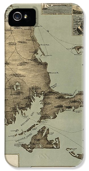 Antique Map Of Cape Cod Massachusetts By J. H. Wheeler - 1885 IPhone 5 Case by Blue Monocle