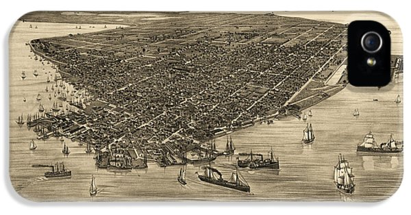 Antique Map Of Key West Florida By J. J. Stoner - 1884 IPhone 5 Case by Blue Monocle
