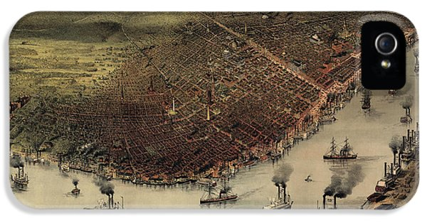Antique Map Of New Orleans By Currier And Ives - Circa 1885 IPhone 5 Case by Blue Monocle
