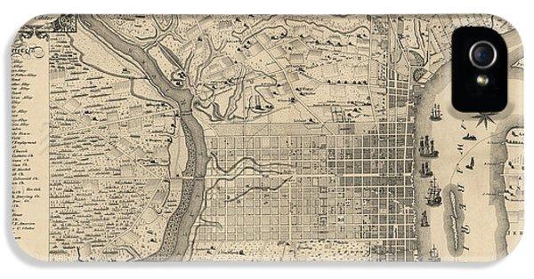 Antique Map Of Philadelphia By P. C. Varte - 1875 IPhone 5 / 5s Case by Blue Monocle