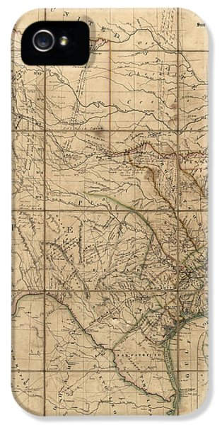 Antique Map Of Texas By John Arrowsmith - 1841 IPhone 5 Case by Blue Monocle
