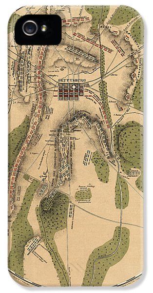 Gettysburg iPhone 5 Case - Antique Map Of The Battle Of Gettysburg By T. Ditterline - 1863 by Blue Monocle