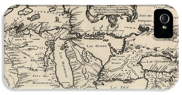 Antique Map Of The Great Lakes By Jacques Nicolas Bellin - 1755 IPhone 5 Case by Blue Monocle