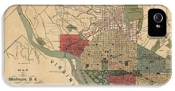 Antique Map Of Washington Dc By R. E. Whitman - 1887 IPhone 5 Case by Blue Monocle