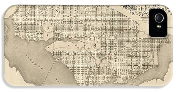 Antique Map Of Washington Dc By Robert King - 1818 IPhone 5 Case by Blue Monocle
