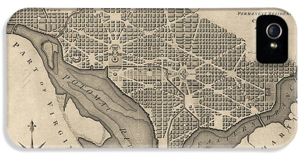 Antique Map Of Washington Dc By William Bent - 1793 IPhone 5 Case by Blue Monocle