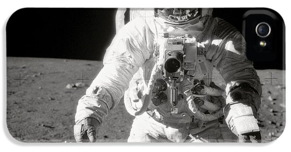 Apollo 12 Moonwalk - 1969 IPhone 5 Case by World Art Prints And Designs