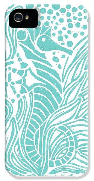 Seahorse iPhone 5 Case - Aqua Seahorse by Stephanie Troxell
