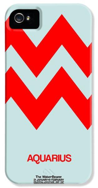 Aquarius Zodiac Sign Red IPhone 5 Case by Naxart Studio