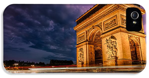 Arc De Triomphe At Dusk In Paris IPhone 5 Case by James Udall