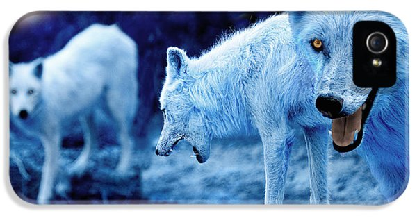 Arctic White Wolves IPhone 5 Case by Mal Bray