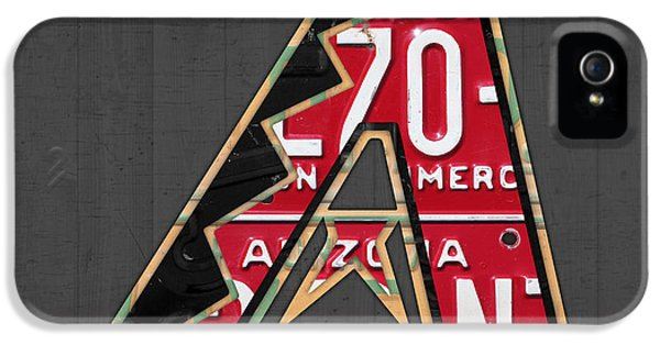 Arizona Diamondbacks Baseball Team Vintage Logo Recycled License Plate Art IPhone 5 Case by Design Turnpike