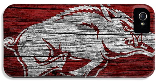 University Of Arkansas iPhone 5 Case - Arkansas Razorbacks On Wood by Dan Sproul