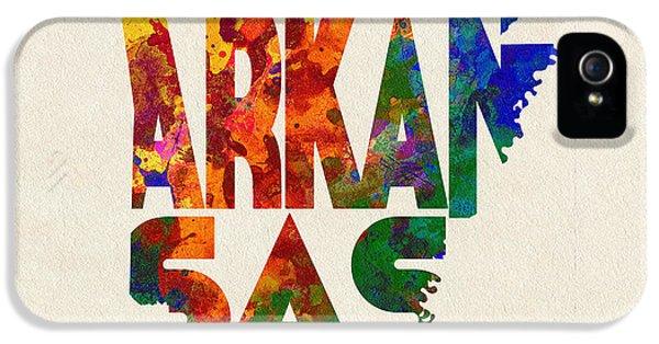 Arkansas Typographic Watercolor Map IPhone 5 Case by Ayse Deniz