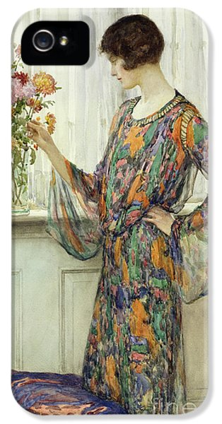 Arranging Flowers IPhone 5 Case by William Henry Margetson
