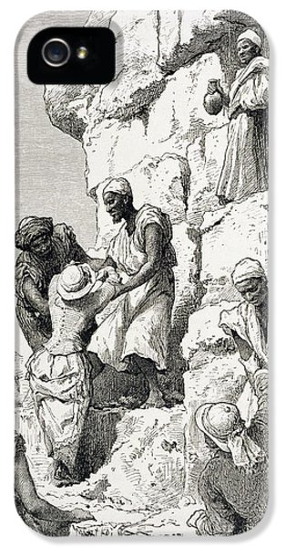 Ascent Of The Great Pyramid, 19th Century Engraving On Paper IPhone 5 Case by Rudolf Carl Huber