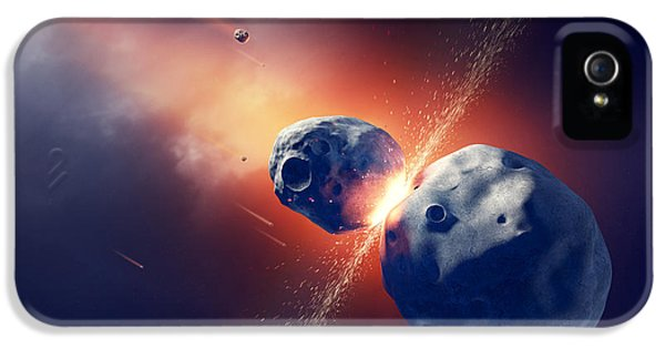 Asteroids Collide And Explode  In Space IPhone 5 Case by Johan Swanepoel