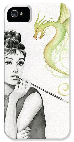 Audrey Hepburn iPhone 5 Case - Audrey And Her Magic Dragon by Olga Shvartsur