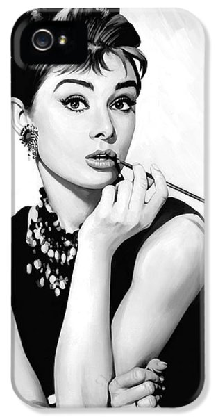 Audrey Hepburn Artwork IPhone 5 Case by Sheraz A