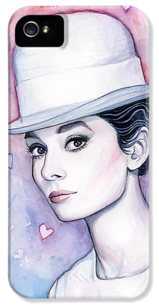 Audrey Hepburn Fashion Watercolor IPhone 5 Case by Olga Shvartsur