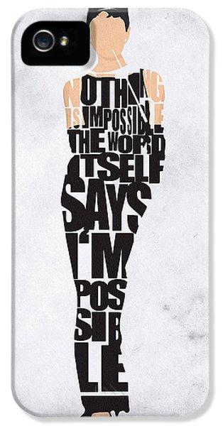 Audrey Hepburn Typography Poster IPhone 5 Case