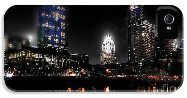 Austin Night Skyline Reflections  IPhone 5 Case by Gary Gibich