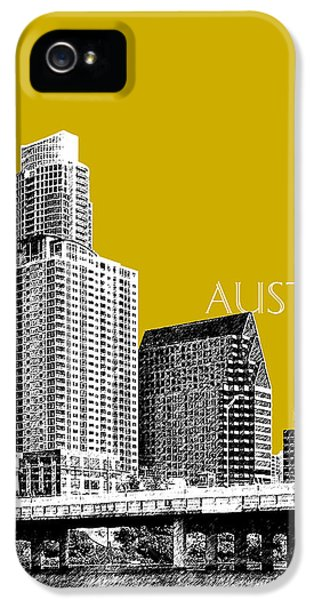 Austin Texas Skyline - Gold IPhone 5 Case by DB Artist