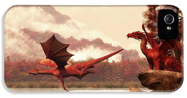 Dungeon iPhone 5 Case - Autumn Dragons by Daniel Eskridge