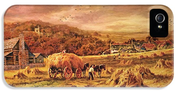 Folk Art iPhone 5 Case - Autumn Folk Art - Haying Time by Lianne Schneider
