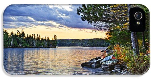 Autumn Sunset At Lake IPhone 5 Case by Elena Elisseeva