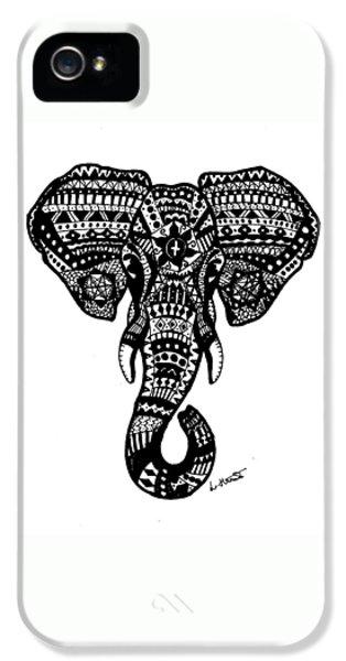 Aztec Elephant Head IPhone 5 Case by Loren Hill